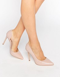London Rebel Open Waisted Court Shoes Nude Patent Beige