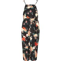 River Island Womens Black Floral Frill Tie Strap Cami Slip Dress