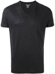 Majestic Filatures V Neck T Shirt Men Silk Linen Flax M Black