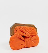 Accessorize Orange Pleated Clutch Bag With Wood Effect Closure