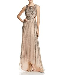 Adrianna Papell Sleeveless Beaded Cutout Gown Taupe Pink