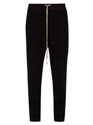 Rick Owens Astaires Virgin Wool Blend Crepe Trousers Black