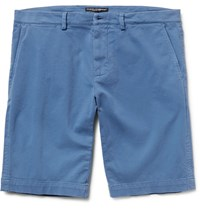Dolce And Gabbana Slim Fit Garment Dyed Stretch Cotton Twill Shorts Blue