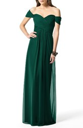 Dessy Collection Women's Ruched Chiffon Gown Hunter
