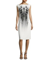 Narciso Rodriguez Dot Print Cap Sleeve Boat Neck Dress White Black White Black