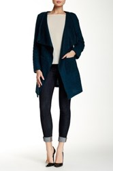 Luma Open Wool Blend Duster Coat Blue