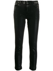 Pinko Leather Effect Cropped Denim Jeans Black