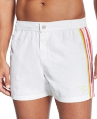Guess Short Board Swim Trunks White