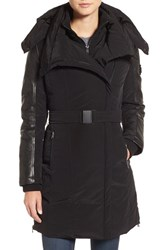 Lamarque Women's Asymmetrical Hooded Down Coat With Genuine Leather Trim Black