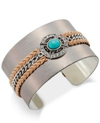 Macy's Silver Tone Braided Leather Turquoise Look Stone Open Cuff Bracelet