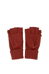 Knitted Convertable Gloves Rust
