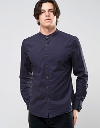 Esprit Grandad Shirt In Slim Fit With Contrast Turnup Sleeves 400 Navy