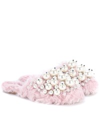 Miu Miu Embellished Faux Fur Slippers Pink