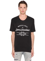 Love Moschino Rubber Lettering Cotton Jersey T Shirt