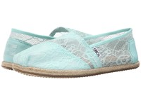 Toms Wedding Classic Mint Lace Women's Slip On Shoes Blue