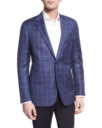 Giorgio Armani Tonal Windowpane Virgin Wool Two Button Sport Coat Light Blue