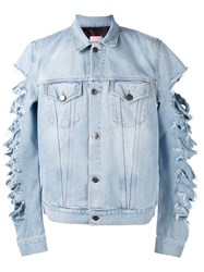 Palm Angels Cut Out Sleeves Denim Jacket Blue