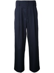 H Beauty And Youth Wide Leg Cropped Trousers Blue