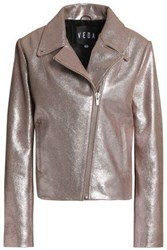 Veda Woman Glittered Leather Biker Jacket Lilac