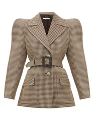 Givenchy Belted Single Breasted Checked Wool Jacket Beige Multi