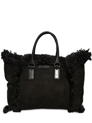 Dsquared Victoria Small Shearling Tote Bag Black