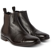 Armando Cabral Shearling Lined Grained Leather Chelsea Boots