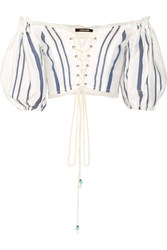 Roberto Cavalli Off The Shoulder Lace Up Striped Cotton Blend Top White