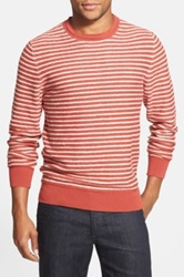 Wallin And Bros Reverse Stitch Striped Crewneck Sweater Red