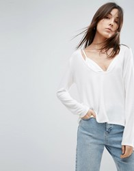 Nytt Low Cut Long Sleeve Top White