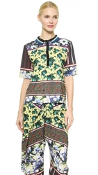 Clover Canyon Floral Collage Collared Shirt Yellow