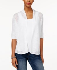Charter Club Pointelle Open Front Cardigan Only At Macy's Bright White