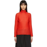 Issey Miyake Red Wooly Pleated Turtleneck