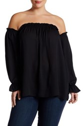 Vanity Room Off The Shoulder Peasant Blouse Plus Size Black