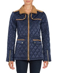 Vince Camuto Faux Suede Trimmed Quilted Jacket Navy