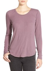 Junior Women's Rvca Long Sleeve Knit Top Plum Black