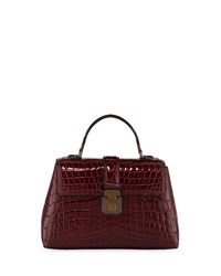 Bottega Veneta Piazza Small Crocodile Top Handle Satchel Bag Wine