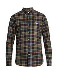 Maison Kitsune Checked Cotton Flannel Shirt Green Multi