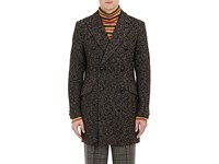 Junya Watanabe Man Comme Des Garcons Men's Textured Knit Wool Blend Double Breasted Coat Green Brown