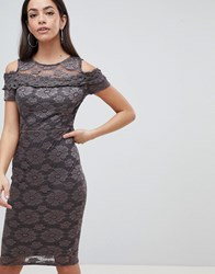 Ax Paris Cold Shoulder Lace Pencil Dress Grey