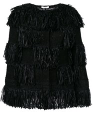 Charlott Fringed Oversized Jacket Black