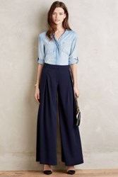 Anthropologie Pleatwork Wide Legs Navy