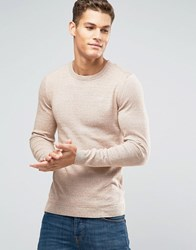 Asos Muscle Fit Cotton Crew Neck Jumper Camel And White Twist Beige