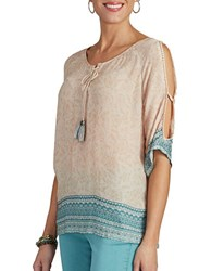 Democracy Printed Cold Shoulder Top Flax