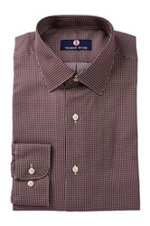 Alexander Julian Micro Check Print Long Sleeve Regular Fit Shirt Red