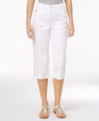 Karen Scott Petite Button Hem Twill Capri Pants Only At Macy's Bright White
