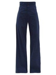 Connolly High Rise Cotton Blend Wide Leg Trousers Navy