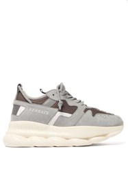 Versace Chain Reaction Mesh And Suede Trainers Grey