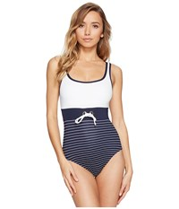 Tommy Hilfiger New England Scoop Neck One Piece Core Navy Women's Swimsuits One Piece