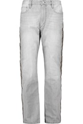 Etoile Isabel Marant Embroidered High Rise Straight Leg Jeans Light Gray