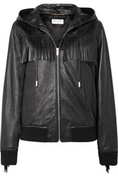 Saint Laurent Hooded Fringed Wool Trimmed Leather Jacket Black